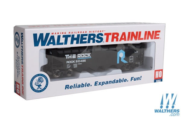 Walthers Trainline HO Offset Hopper - Ready to Run - Rock Island (black, blue, white)