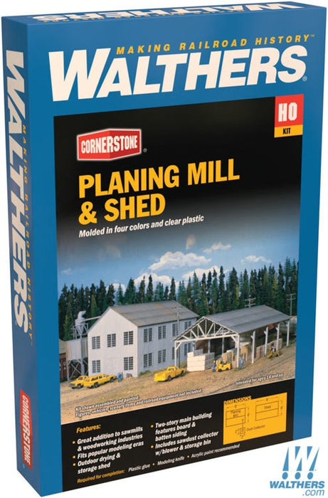 Walthers Cornerstone HO Planing Mill and Shed - Kit - Mill 6 x 8in 15.2 x 20.3cm; Shed 6 x 9in 15.2 x 22.9cm