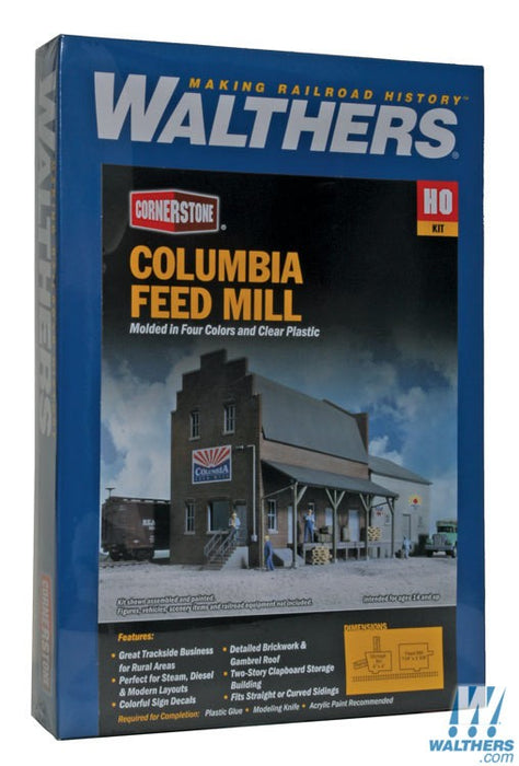 Walthers Cornerstone HO Columbia Feed Mill - Kit - 7-1/4 x 5-5/8 x 5-1/2in 18.4 x 14.3 x 14cm
