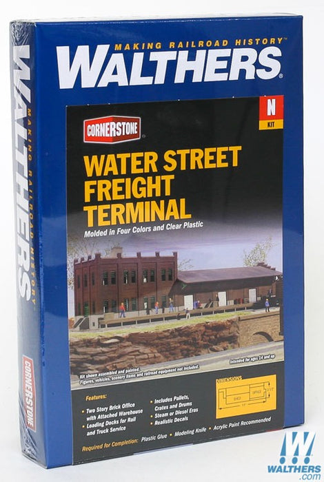 Walthers Cornerstone N Water Street Freight Terminal - Kit - 11 x 3-1/2in 27.5 x 8.7cm