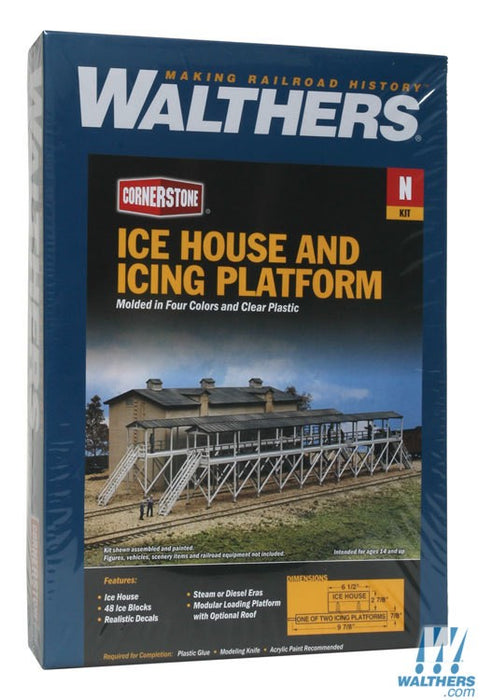 Walthers Cornerstone N Ice House & Icing Platform - Kit - Overall 9-7/8 x 3-3/4in 25 x 9.5cm