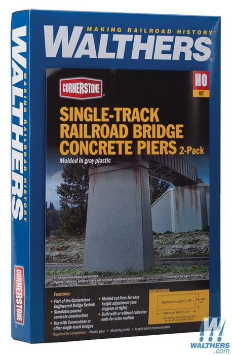 Walthers Cornerstone HO Single-Track Railroad Bridge Concrete Piers pkg(2) - Kit - 5-1/8 x 1-1/8 x 3-3/4in 13 x 2.8 x 9.5cm (Includes Cutwater)