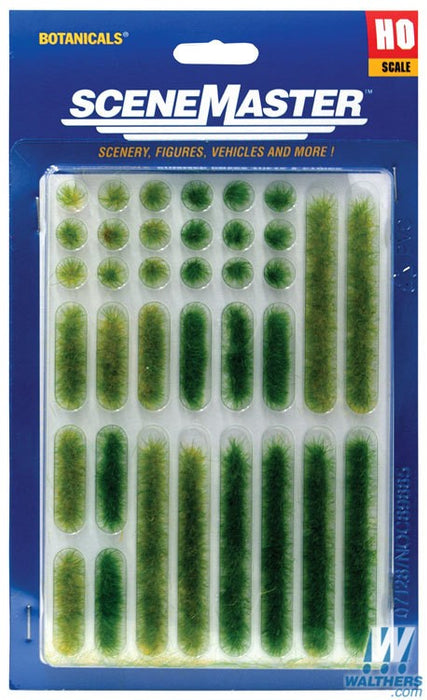 Walthers SceneMaster HO Grass Tufts and Strips 1/4in 0.6cm Tall - Summer, 18 of Each
