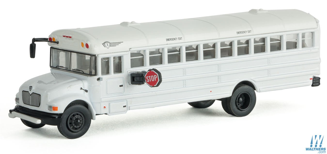 Walthers SceneMaster HO International(R) MOW Crew Bus - Assembled - White w/Railroad Maintenance-of-Way Logo Decals