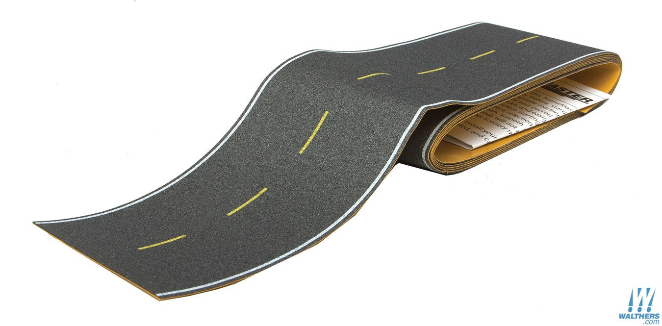 Walthers SceneMaster HO Flexible Self-Adhesive Paved Roadway - Modern Highways (yellow dashed centerline, white edge markings)