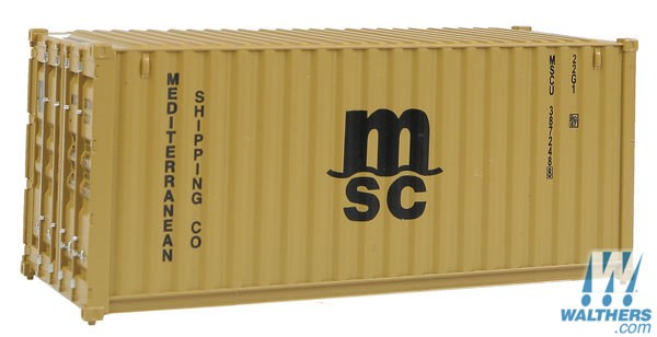 Walthers SceneMaster HO 20ft Corrugated Container - Assembled - Mediterranean Shipping Co. (MSC) (brown)
