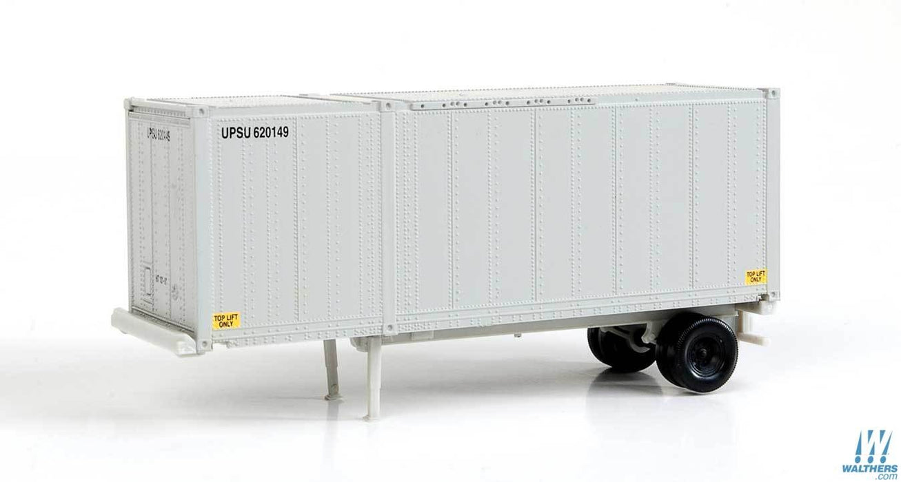 Walthers SceneMaster HO 28ft Container with Chassis 2-Pack - Assembled - United Parcel Service UPSZ (gray)