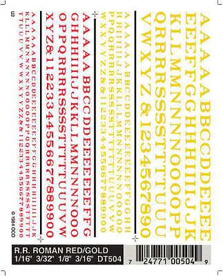 Woodland Scenics Railroad Roman Letters, Red/Yellow