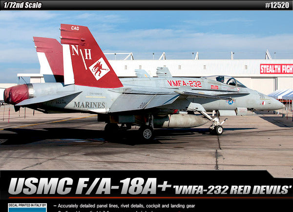 Academy 1/72 Usmc F/A 18A+ Vmfa-232 Red Devils Le Plastic Model Kit Aus Decals