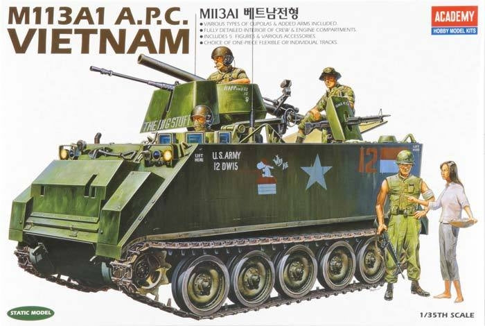 Academy 1/35 M113A1 Vietnam Version Plastic Model Kit Aus Decals