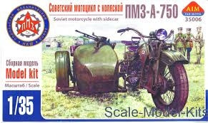 AIM -FAN MODELL 1/35 PMZ-A-750 SOVIET MOTORCYCLE WITH SIDECAR