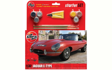 AIRFIX 1/32 JAGUAR E TYPE W/PAINT STARTER SET