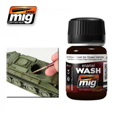 MIG AMMO DARK BROWN WASH FOR GREEN VEHICLES