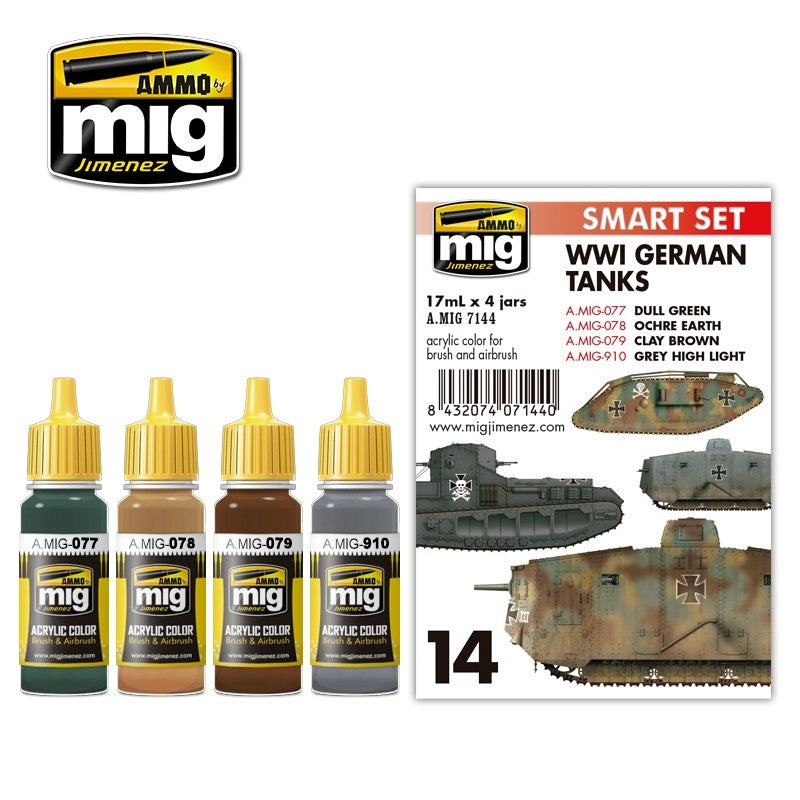 MIG AMMO WWI GERMAN TANKS COLOUR SET