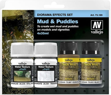 VALLEJO DIORAMA EFFECTS SET MUD & PUDDLES 4 X 35ML