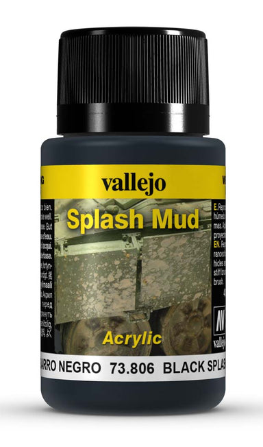 VALLEJO WEATHERING EFFECTS BLACK SPLASH MUD 40 ML