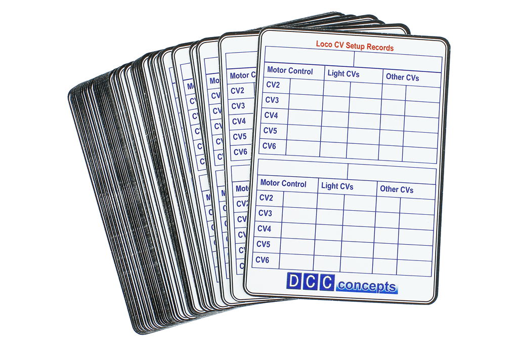 Dcc Concepts 52 Decoder CV Settings Record Cards