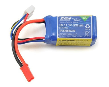 E-FLITE 300MAH 11.1V 3S LIPO BATTERY WITH JST