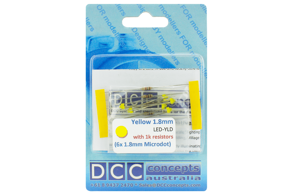 DCC Concepts Led Panel Dot Type 1.8mm (W/Resistors) Yellow (6)