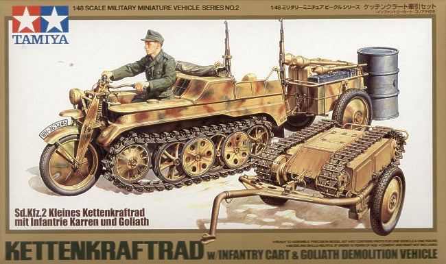 TAMIYA 1/48 KETTENKRAFTRAD WITH INFANTRY CART AND GOLIATH DEMO VEHICLE