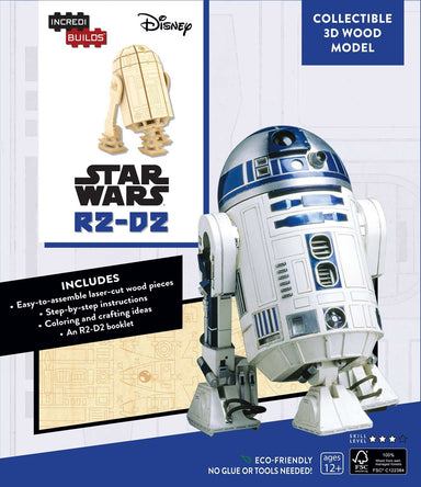 INCREDIBUILDS STAR WARS R2-D2 3D WOOD MODEL W/BOOK
