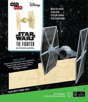 INCREDIBUILDS STAR WARS TIE FIGHTER 3D WOOD MODEL W/BOOK