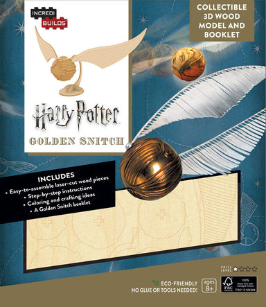 INCREDIBUILDS HARRY POTTER GOLDEN SNITCH 3D WOOD MODEL W/BOOK