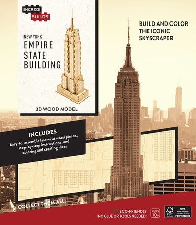 INCREDIBUILDS NEW YORK EMPIRE STATE BUILDING 3D WOOD MODEL W/BOOK