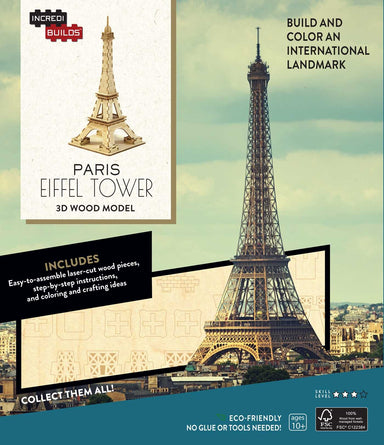 INCREDIBUILDS PARIS EIFFEL TOWER 3D WOOD MODEL W/BOOK