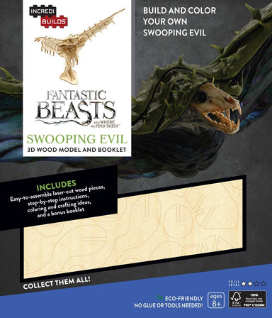 INCREDIBUILDS FANTASTIC BEASTS SWOOPING 3D WOOD MODEL W/BOOK