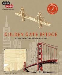 INCREDIBUILDS SAN FRANCISCO GOLDEN GATE BRIDGE 3D WOOD MODEL W/BOOK