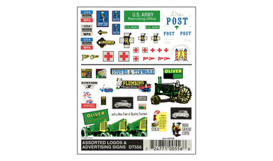 WOODLAND SCENICS Dry Transfer, Assorted Logos/Advertising Signs