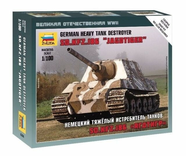 Zvezda 6206 1/100 Sd.Kfz.186 Jagdtiger Heavy Tank Destroyer Plastic Model Kit