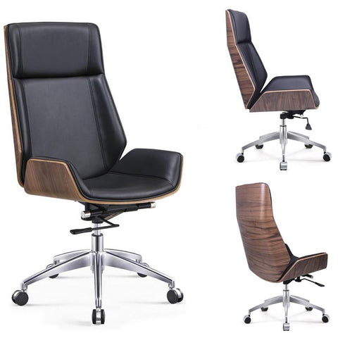 High-Back Bentwood Swivel Office Computer Chair
