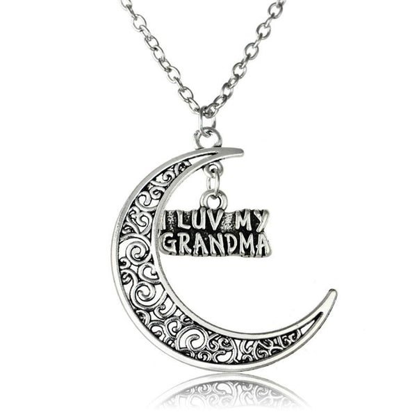 I Love My Grandma Moon Pendant Necklace