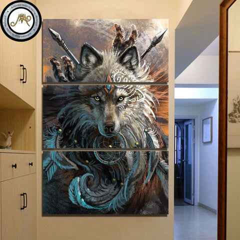 Wolf Warrior 3 Piece Canvas