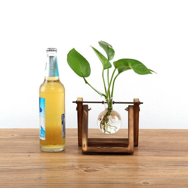 Clear Glass Flower Plant  Vase With Wooden Tray