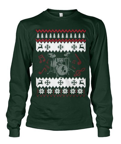 Apparel - Drummer Ugly Christmas Sweater-style Tee