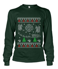 Apparel - Firefighter Ugly Christmas Style Printed Tee