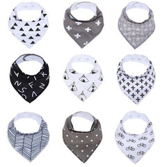 Baby - 100% Organic Cotton, Soft And Absorbent Baby Bandana Drool Bibs Unisex 9-Pack