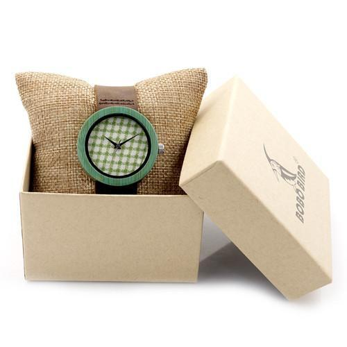 Bamboo Genuine Leather Strap High Quality Watch With Gift Box