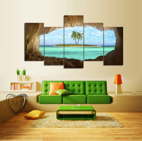 Beach Palm Tree 5 Piece Canvas Limited Edition - Beach Palm Tree 5 Piece Canvas Limited Edition