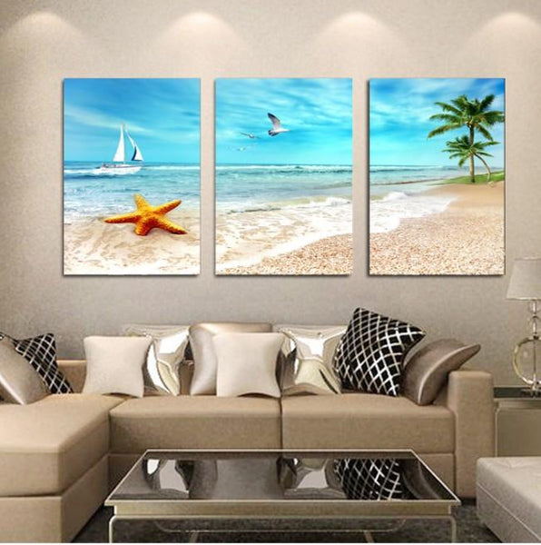 Beach Star Fish 3 Piece Canvas Limited Edition - Beach Star Fish 3 Piece Canvas Limited Edition