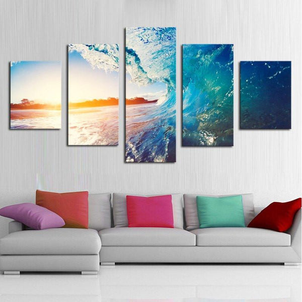 Big Waves 5 Piece Canvas Limited Edition - Beach 5 Piece Canvas Limited Edition