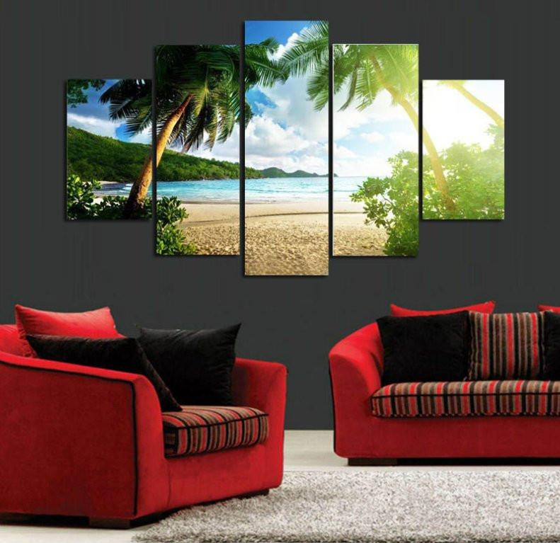 Big Waves 5 Piece Canvas Limited Edition - Beach Palm Trees 5 Piece Canvas Limited Edition