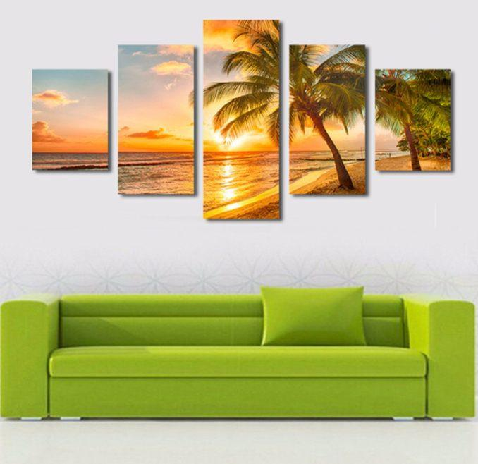Big Waves 5 Piece Canvas Limited Edition - Beautiful Sunset At The Beach 5 Piece Canvas Limited Edition