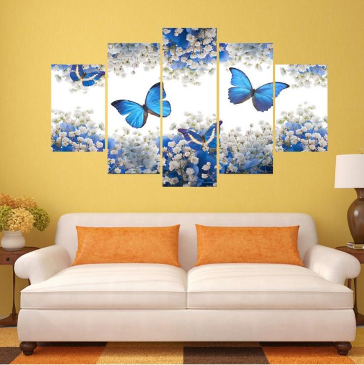 Blue Butterflies 5 Piece Canvas Limited Edition - Blue Butterfly 5 Piece Canvas Limited Edition