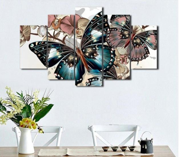 Blue Butterflies 5 Piece Canvas Limited Edition - Butterfly 5 Piece Canvas Limited Edition