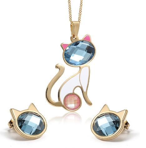 Blue Pink Crystal Cat Necklace + Earrings - Blue Pink Crystal Cat Necklace + Earrings