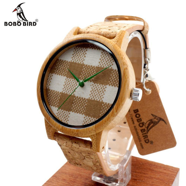 BOBO BIRD A28 New Arrival Vintage Round Ladies' Bamboo Wood Quartz Watches With Fabric Dial Women Watches Top Brand Luxury Watch